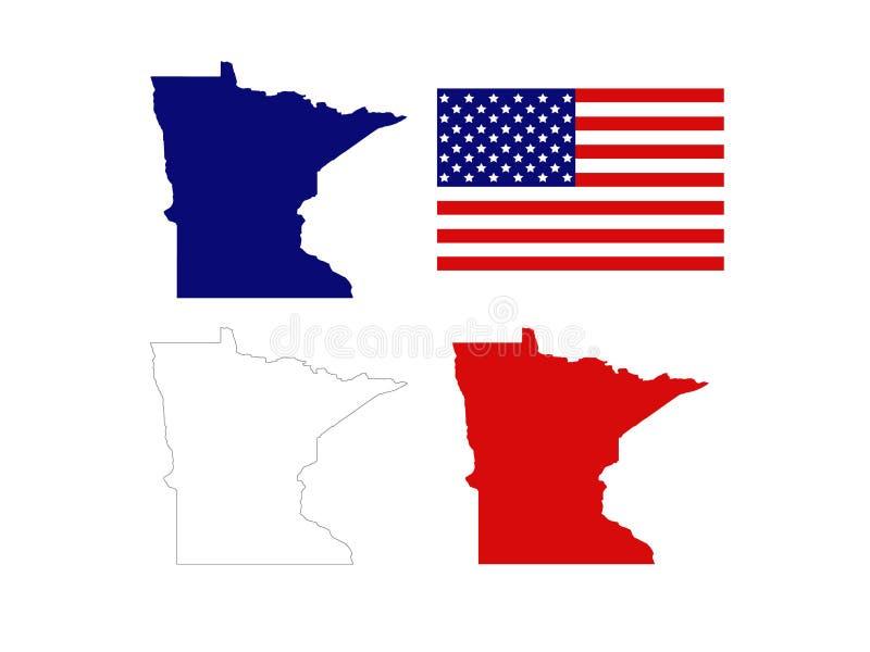 Minnesota-Karten mit USA-Flagge - Zustand in den nördlichen Regionen der Vereinigten Staaten stock abbildung