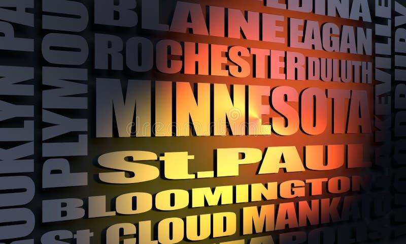 Minnesota state cities list stock illustration