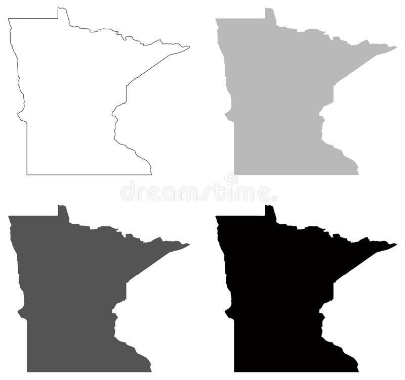 royalty free vector download minnesota map state in the midwestern and northern regions of the united states stock