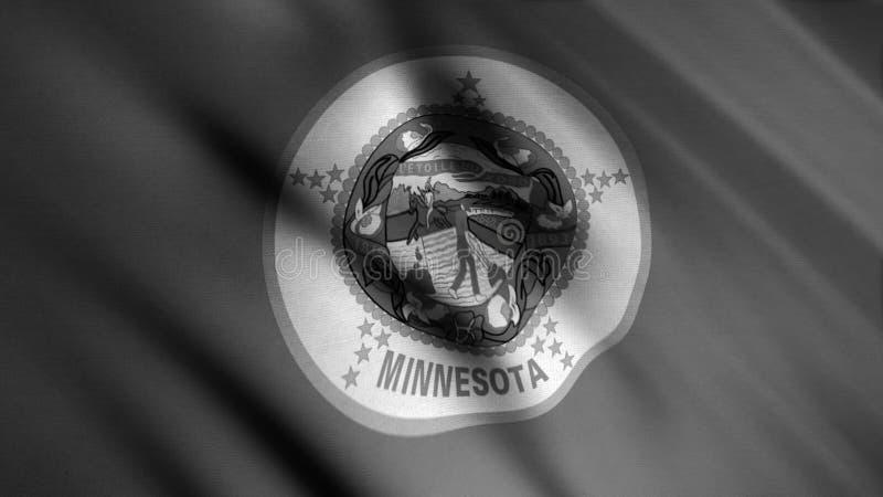 Minnesota realistyczne zbliżenie w tle, bezproblemowa pętla Animacja Flaga monochromatyczna Stanów Zjednoczonych royalty ilustracja