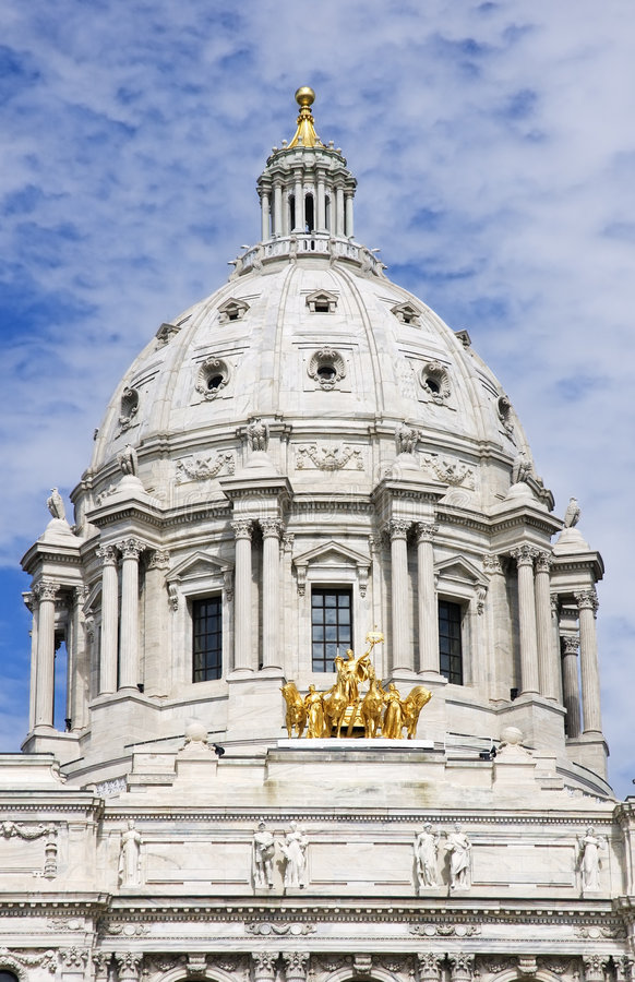 Minnesota State Capitol Dome and Horses St Paul MN stock photography