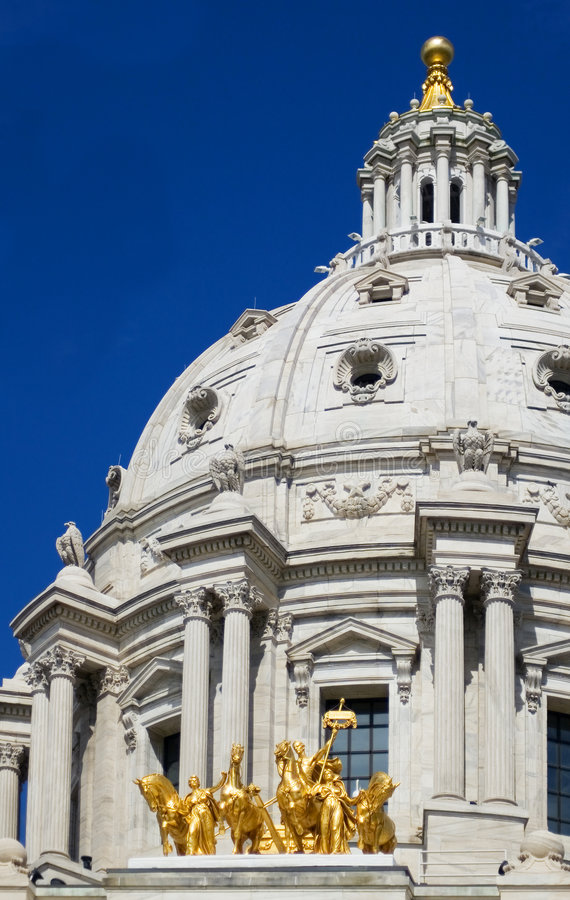 Minnesota State Capitol Dome and Horses St Paul MN royalty free stock image