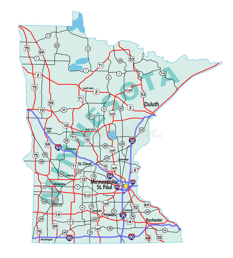 Minnesota State Interstate Map Royalty Free Stock Photography - State of minnesota map