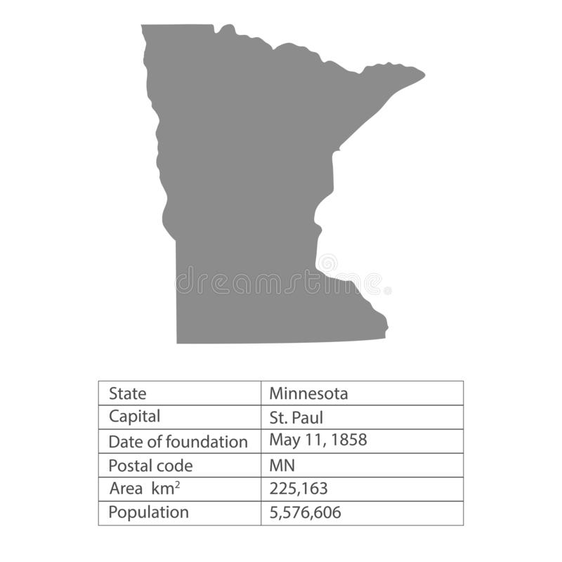 Minnesota. States of America territory on white background. Separate state. Vector illustration. Minnesota. States of America territory on white background vector illustration
