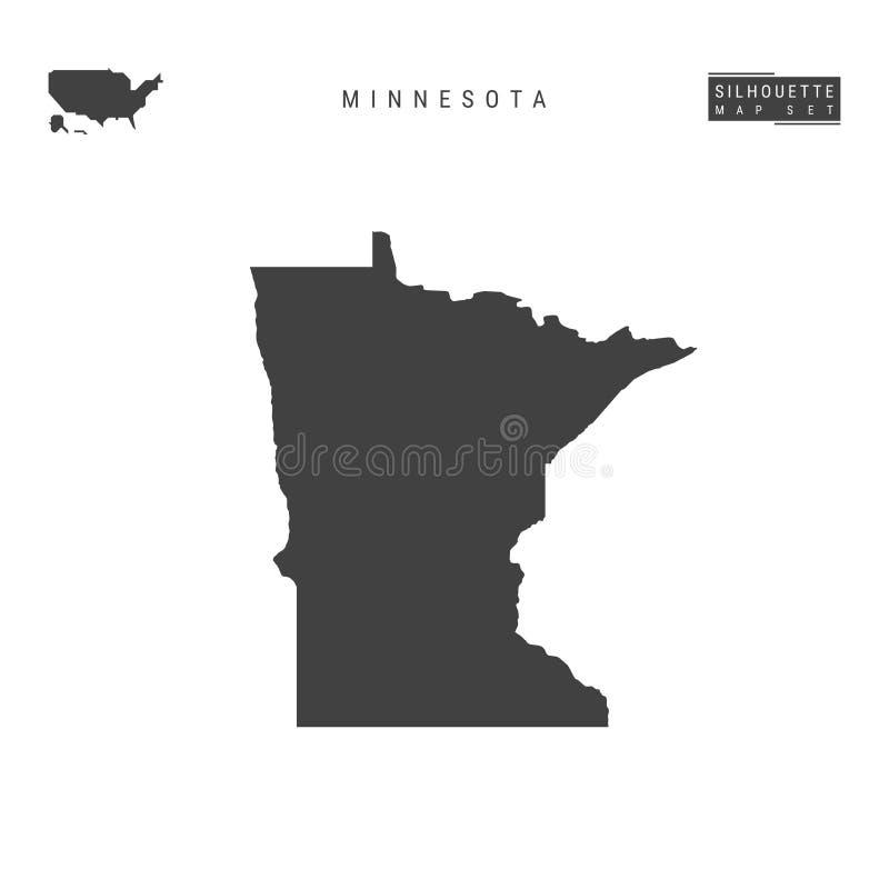 Minnesota USA påstår vektoröversikten som isoleras på vit bakgrund Hög-specificerad svart konturöversikt av Minnesota stock illustrationer