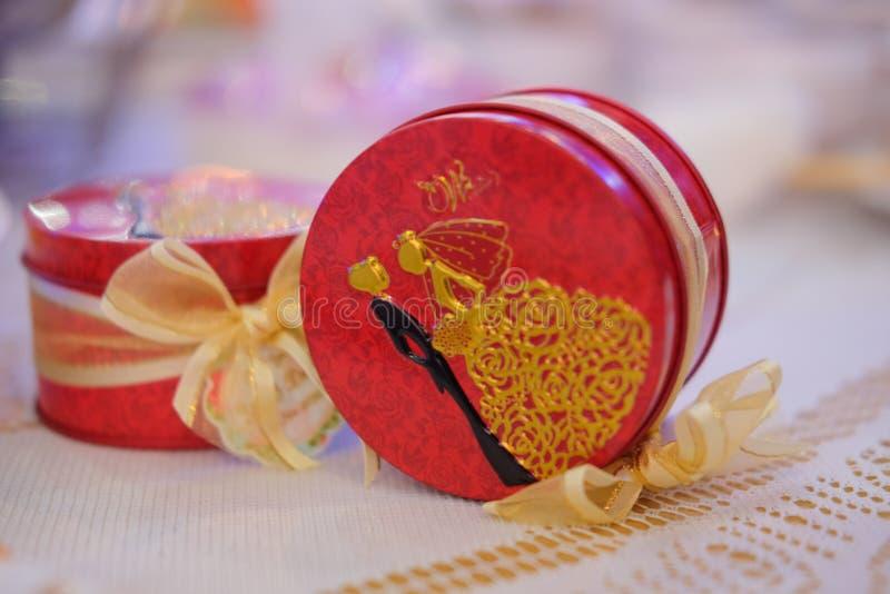 Minnessak eller gåva för gäst i bröllopparti royaltyfria bilder