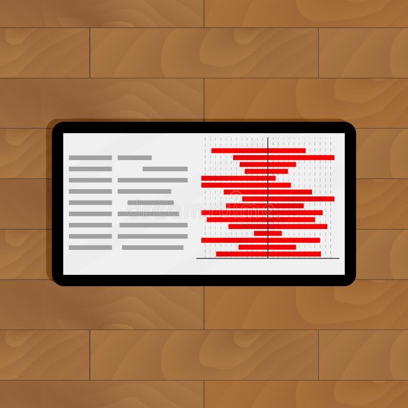 Minnestavla med röd information om diagram vektor illustrationer