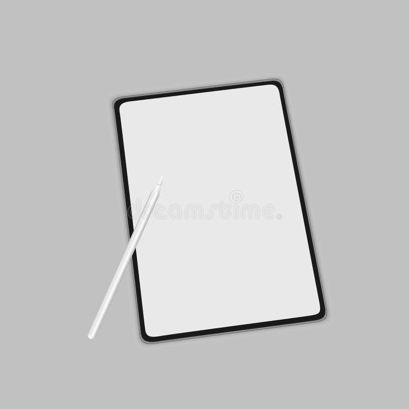 Minnestavla med tomma skärmar och med pennan som isoleras på vit bakgrund ställa ut ditt arbete i modern stil stock illustrationer