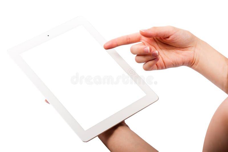 Minnestavla och händer på vit bakgrund arkivfoto