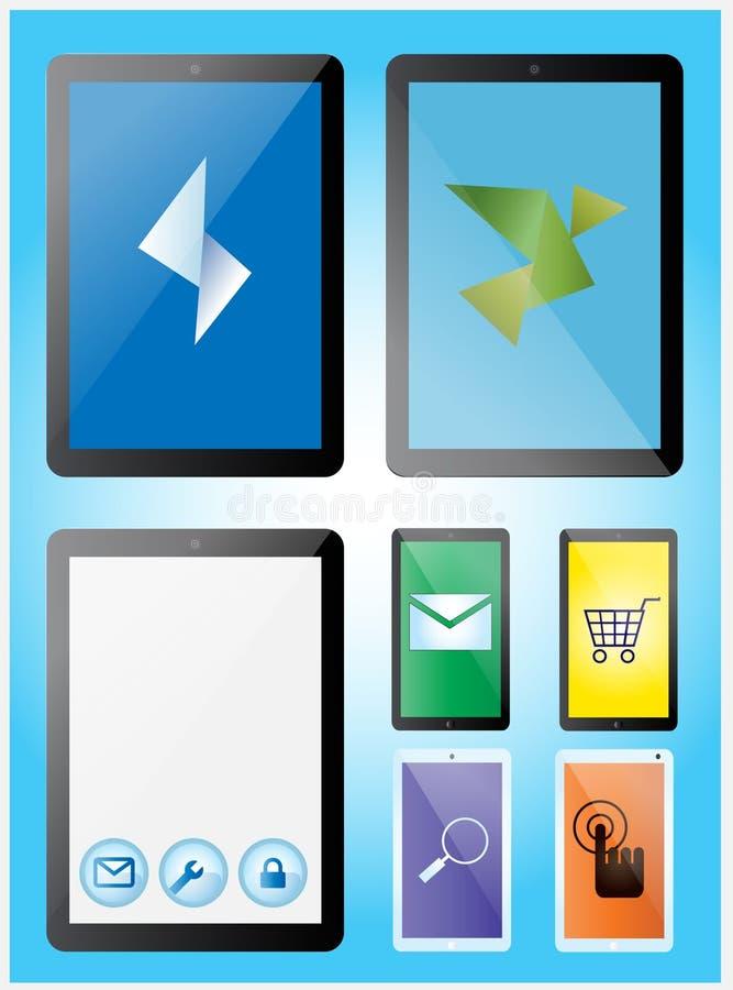 Minnestavla- och smartphonesuppsättning stock illustrationer