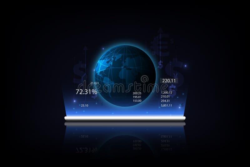 Minnestavla som visar ett växande faktiskt hologram av statistik, graf och pengaröverföring global valuta Timglas, dollar och eur stock illustrationer