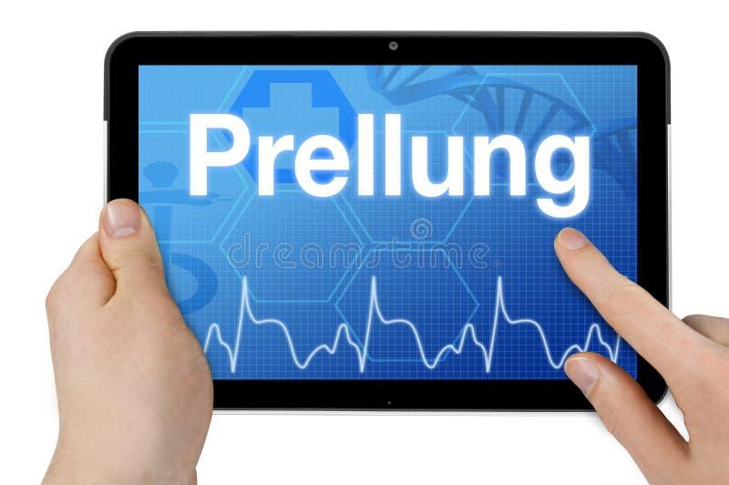 Minnestavladator med det tyska ordet för blåmärket - Prellung royaltyfri fotografi