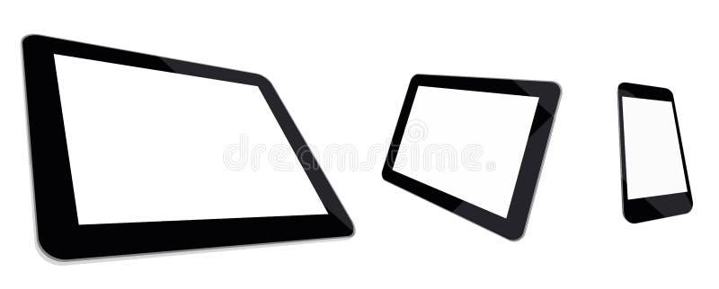 Minnestavladator, mini- minnestavla och smartphone  royaltyfri illustrationer