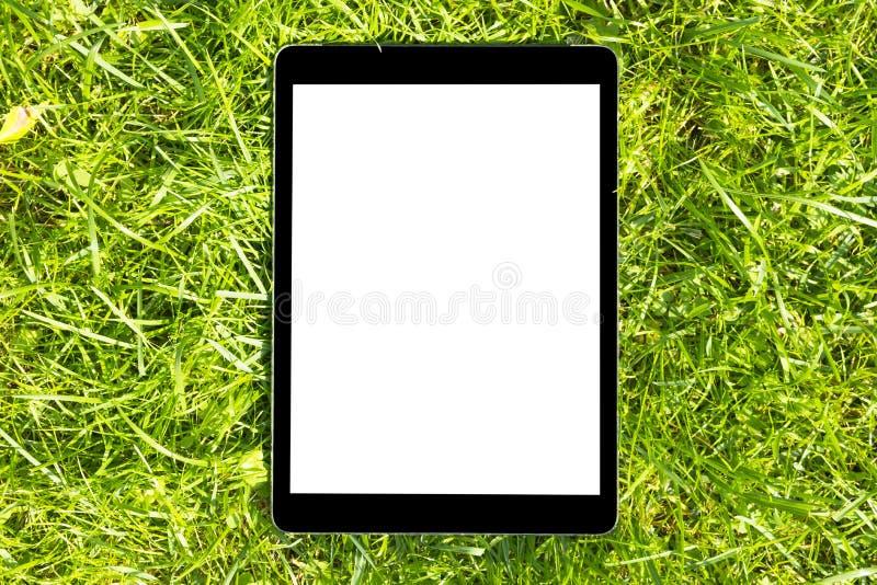 Minnestavladator på det gröna gräset på solen, isolerad vit skärm, tomt utrymme för text, kopieringsutrymme, slut upp arkivfoto