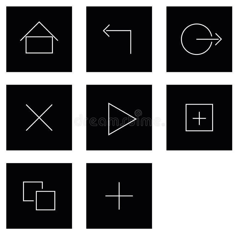 Minnestavlahandlagsymboler royaltyfri illustrationer