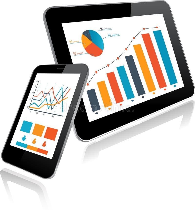 MinnestavlaPC och Smartphone med statistikdiagrammet stock illustrationer
