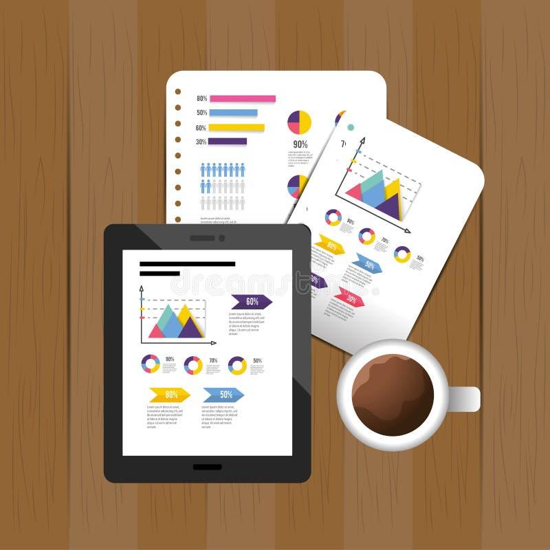 Minnestavlateknologi med det infographic affärsdiagrammet stock illustrationer