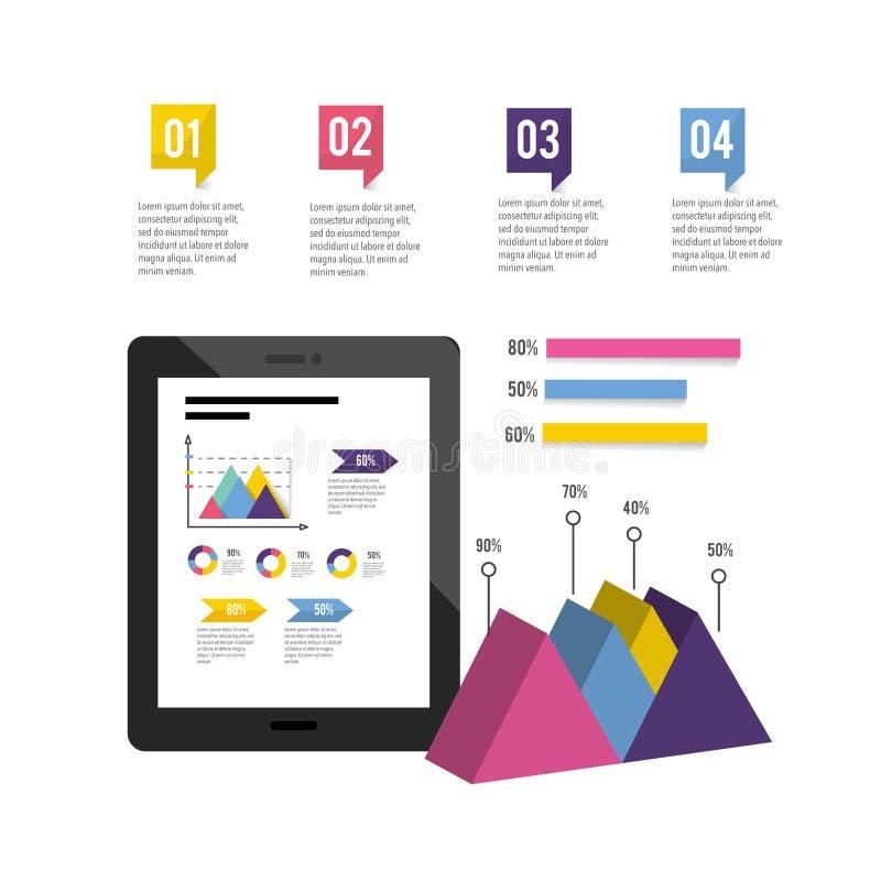 Minnestavlateknologi med det infographic affärsdiagrammet vektor illustrationer