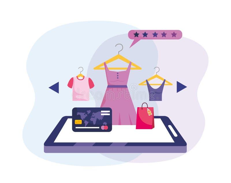 Minnestavlateknologi med kreditkorten till att shoppa direktanslutet vektor illustrationer