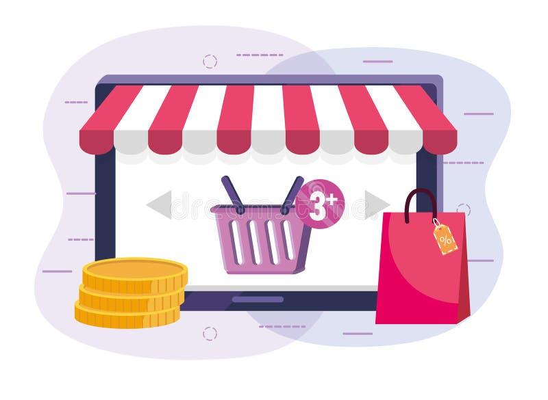 Minnestavlateknologi till att shoppa direktanslutet och digitala mynt stock illustrationer