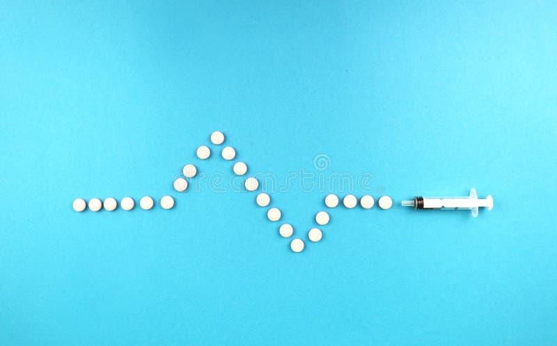 Minnestavlor i form av en kardiogram och en injektionsspruta Begreppet av behandling av hjärtsjukdomen arkivfoto