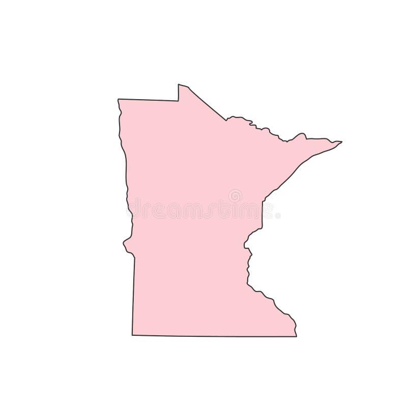 Minnestoa mapa odizolowywająca na białej tło sylwetce Minnestoa usa stan ilustracji