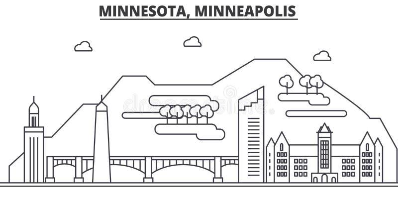 Minnestoa, Minneapolis architektury linii linii horyzontu ilustracja Liniowy wektorowy pejzaż miejski z sławnymi punktami zwrotny royalty ilustracja