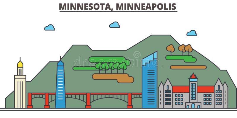 Minnestoa, Minneapolis tła miasta projekta linia horyzontu wektor twój ilustracja wektor