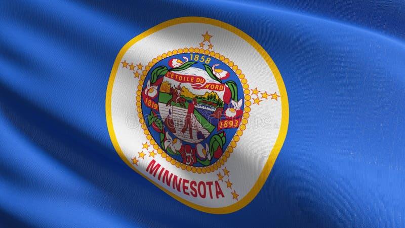Minnestoa stanu flaga w Stany Zjednoczone Ameryka, usa, dmucha w wiatrze odizolowywającym Oficjalny patriotyczny abstrakcjonistyc ilustracji