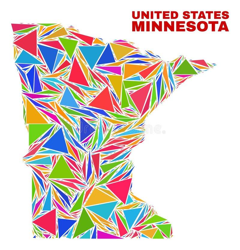 Minnestoa stanu mapa - mozaika kolorów trójboki ilustracja wektor