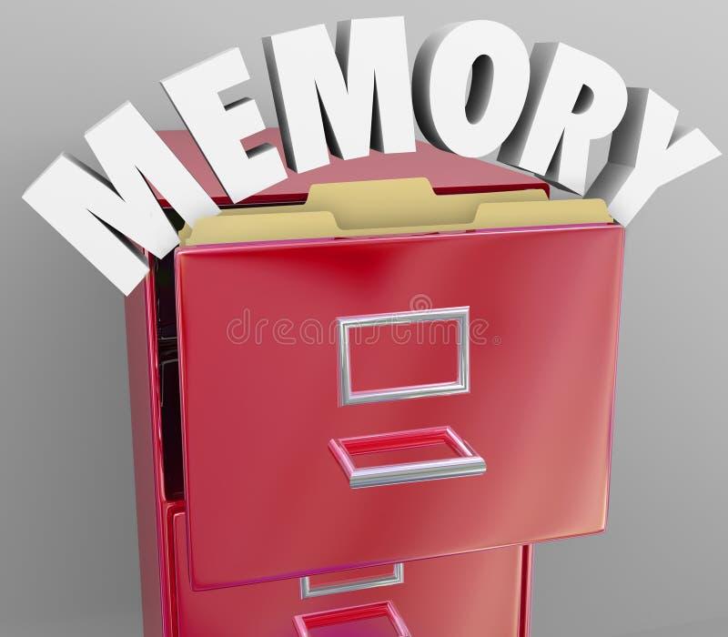 Minnet som återkallar hämtande, minns mappkabinettet vektor illustrationer