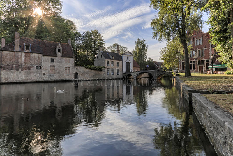 Minnewater公园全景有美丽的白色天鹅的在布鲁日布鲁基,比利时的中世纪部分的春天晚上 免版税库存图片