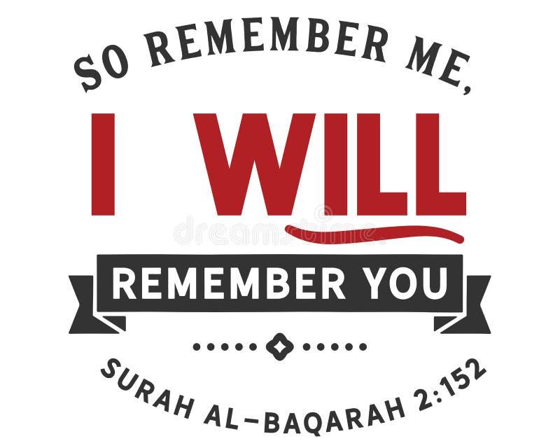Minns så mig; Jag ska minnas dig   Surahal-Baqarah vektor illustrationer