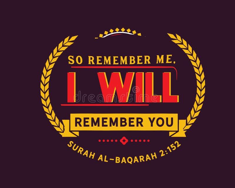 Minns så mig; Jag ska minnas dig   Surahal-Baqarah royaltyfri illustrationer