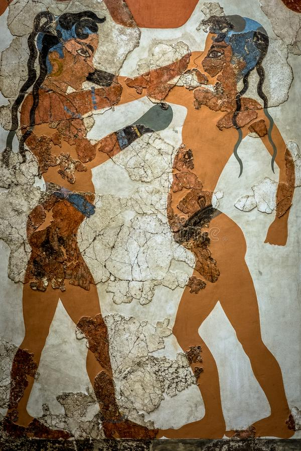Minoan för ` för `-boxningungdomar civilisation royaltyfri bild