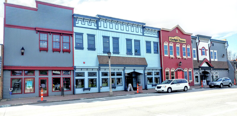 Minocqua do centro, Wisconsin - Oneida County imagem de stock