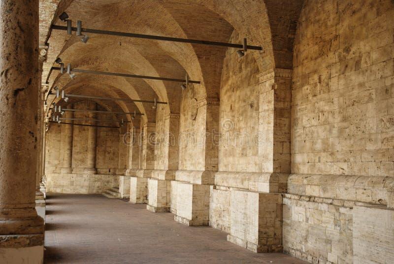 Minor cloister of San Francesco, Ascoli Piceno stock photography