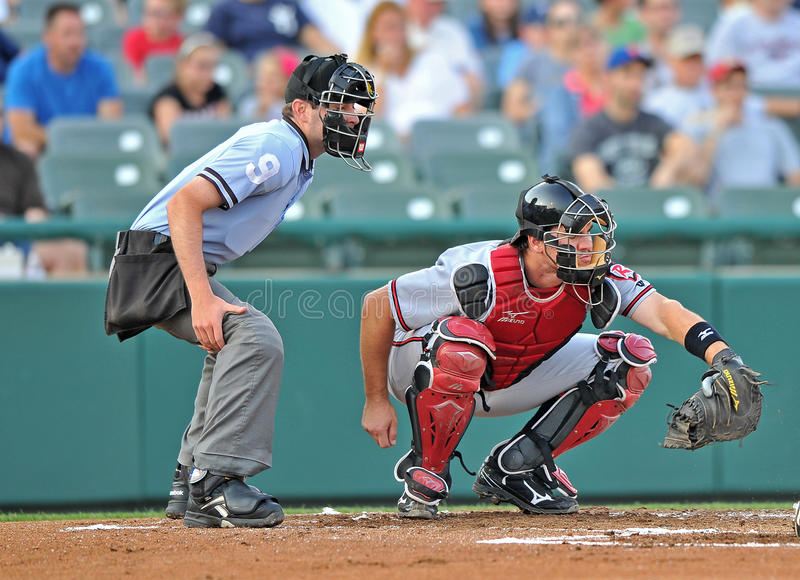 Minor League Baseball 2012. TRENTON, NJ - JUNE 19: Richmond Flying Squirrels catcher Tommy Joseph (r) catches a pitch during the Eastern League baseball game stock photo