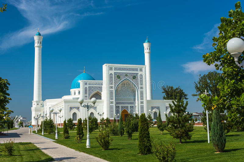 Minor White Mosque in Tashkent, Uzbekistan. Beautiful white Minor mosque in Tashkent on a sunny day, Uzbekistan royalty free stock photos