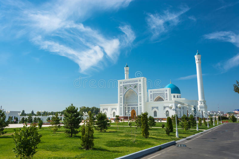 Minor White Mosque in Tashkent, Uzbekistan. Beautiful white Minor mosque in Tashkent on a sunny day, Uzbekistan royalty free stock photo