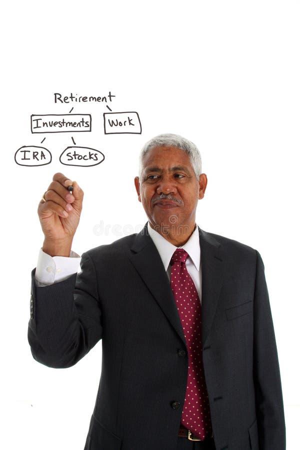 Minorität-Geschäftsmann-Planungs-Ruhestand lizenzfreie stockfotografie
