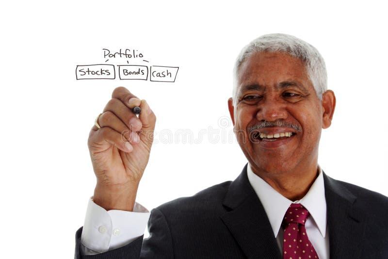 Minorität-Geschäftsmann-Planungs-Ruhestand stockfotos