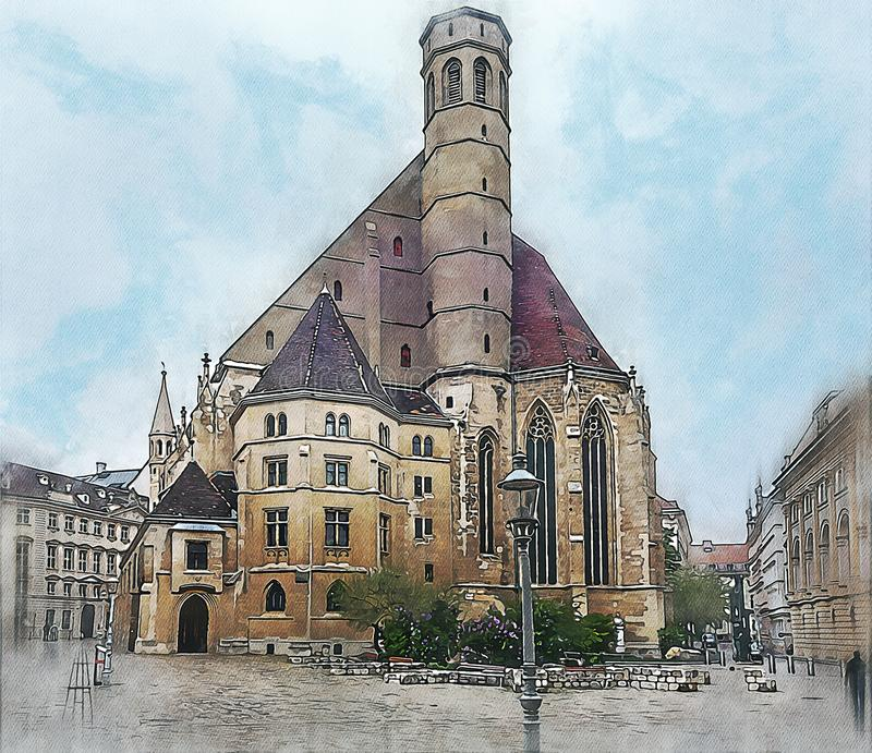 Minorite Church in Vien. Watercolor sketch or illustration of Minorite Church in Vien royalty free illustration
