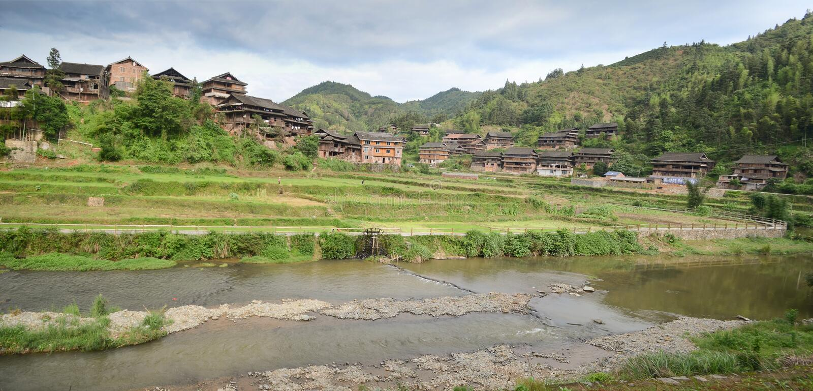 Minority village in China stock images