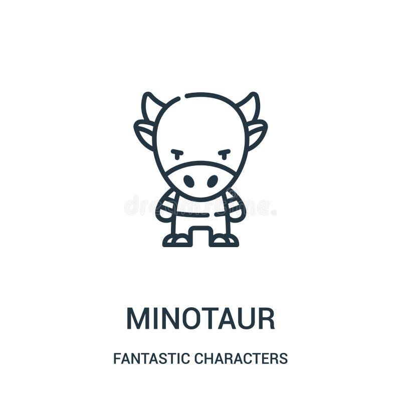 minotaur从意想不到的字符收藏的象传染媒介 稀薄的线minotaur概述象传染媒介例证 库存例证