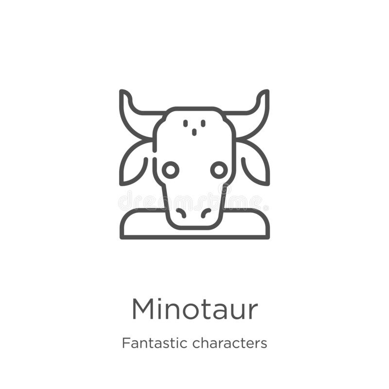 minotaur从意想不到的字符收藏的象传染媒介 稀薄的线minotaur概述象传染媒介例证 r 向量例证