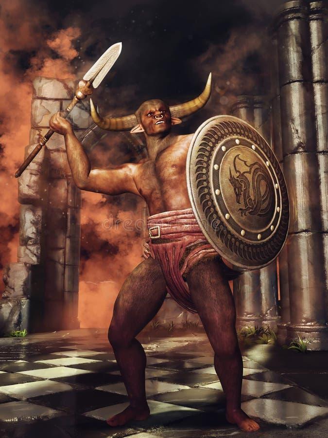 Minotaur mit einem Schild und einer Stange stock abbildung