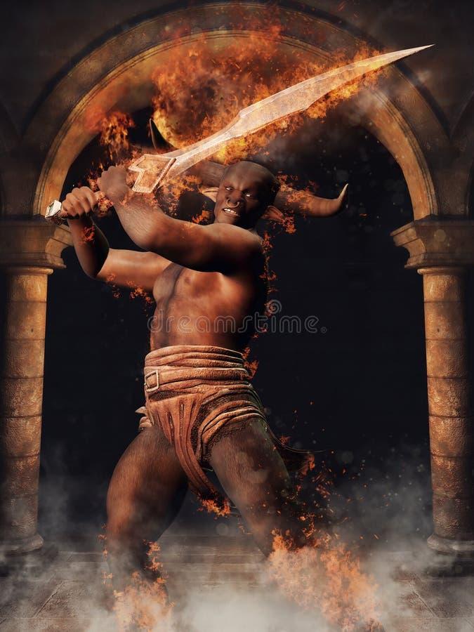 Minotaur mitológico com uma espada ilustração stock