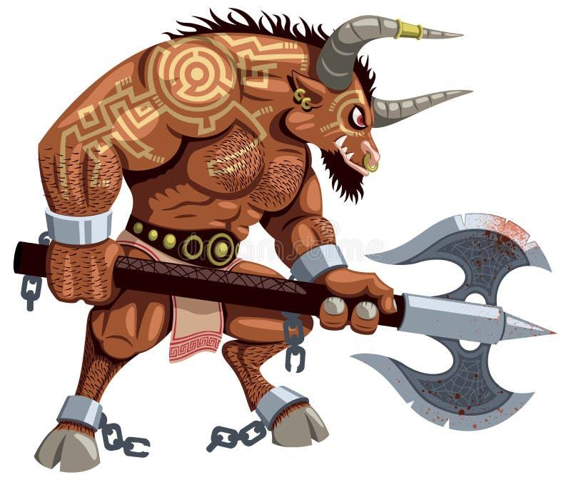 Minotaur no branco ilustração royalty free