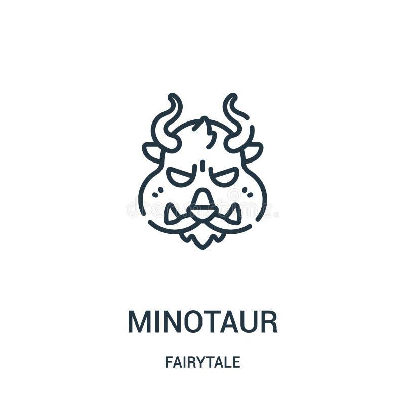 minotaur pictogramvector van fairytaleinzameling De dunne lijn minotaur schetst pictogram vectorillustratie vector illustratie
